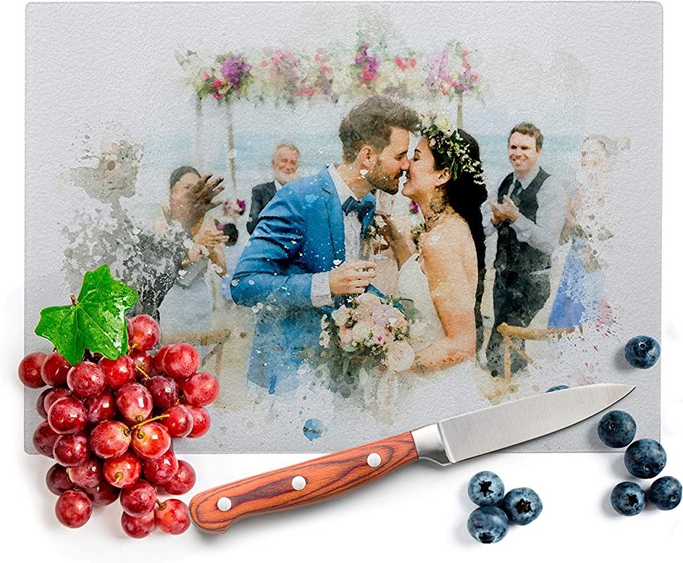 Custom Photo Kitchen Signs For Couples 8 X11 Tempered Glass Cutting Board Add Photo Logo Picture On Cutting Board Wedding Gifts For The Couple Housewarming Gift Custom Gifts