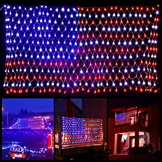 American Flag Lights with 420 Super Bright LEDs, Waterproof Led Flag Net Light of The United States, LED String Lights for...