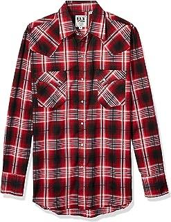 ELY CATTLEMAN Men's Long Sleeve Button Up Offset Pocket Textured Plaid Shirt