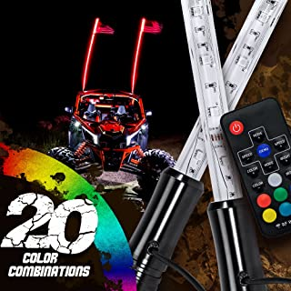 2pc 5ft LED Whip Lights w/Flag [21 Modes] [20 Colors] [Wireless Remote] [Weatherproof] Lighted Antenna Whips - Accessories for ATV Polaris RZR 4 Wheeler