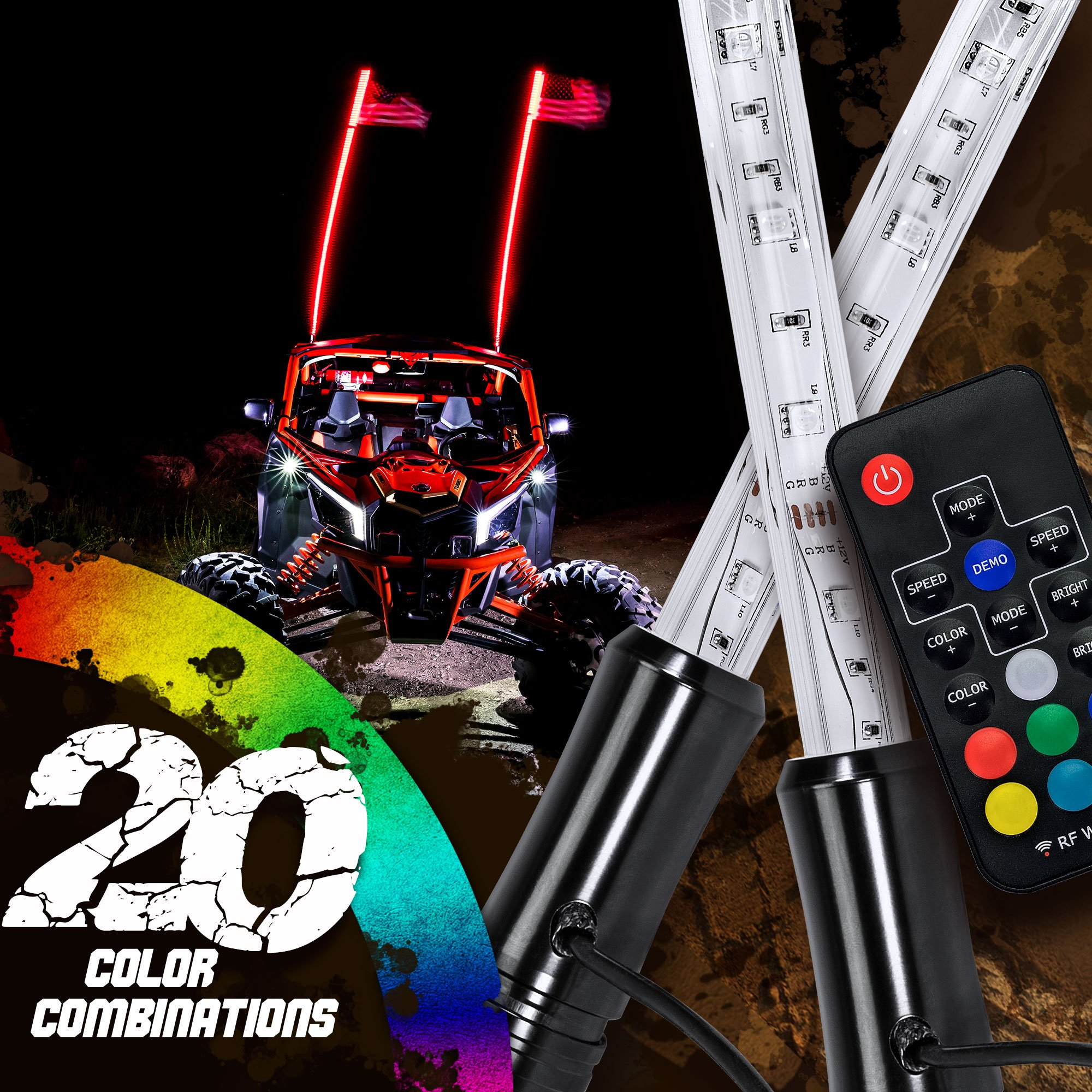 Accessories for All-Terrain Off Road ATV Polaris RZR 4 Wheeler Multi-Color Light Patterns Shatterproof Waterproof Build OPT7 Aura 4ft LED Whip Single w//Quick Release Shock Spring Remote and Flag 64