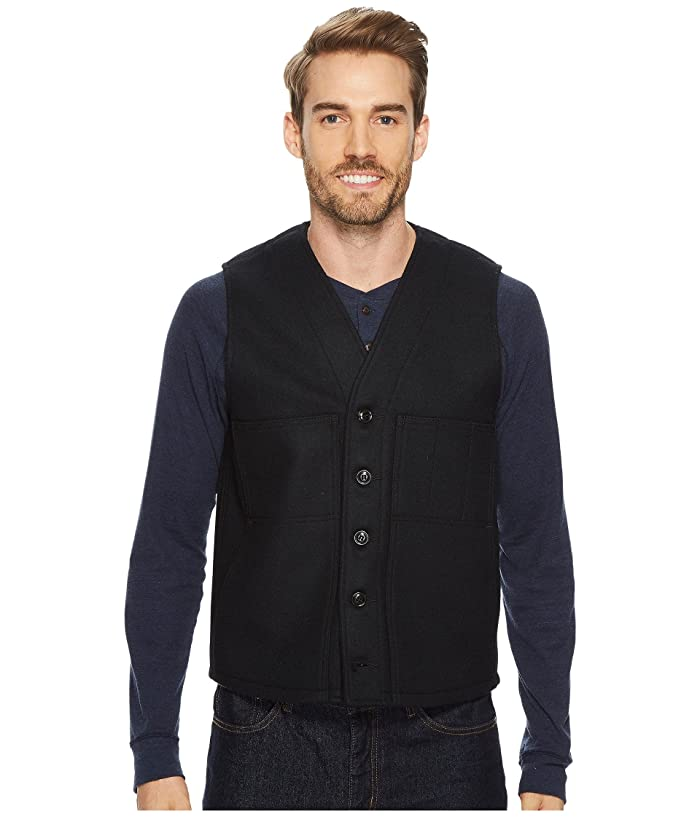 1910s Men's Working Class Clothing Filson Mackinaw Wool Vest Navy Mens Vest $150.00 AT vintagedancer.com