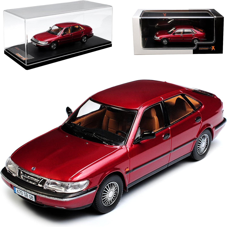 PremiumX Saab 900 V6 Limousine Rot 1. Generation 1978-1994 1 43 Modell Auto mit individiuellem Wunschkennzeichen B076QLQB74 Primäre Qualität  | Schön In Der Farbe