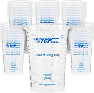 TCP Global 32 Ounce (1000ml) Disposable Flexible Clear Graduated Plastic Mixing Cups - Box of 50 Cups - Use for Paint, Res...
