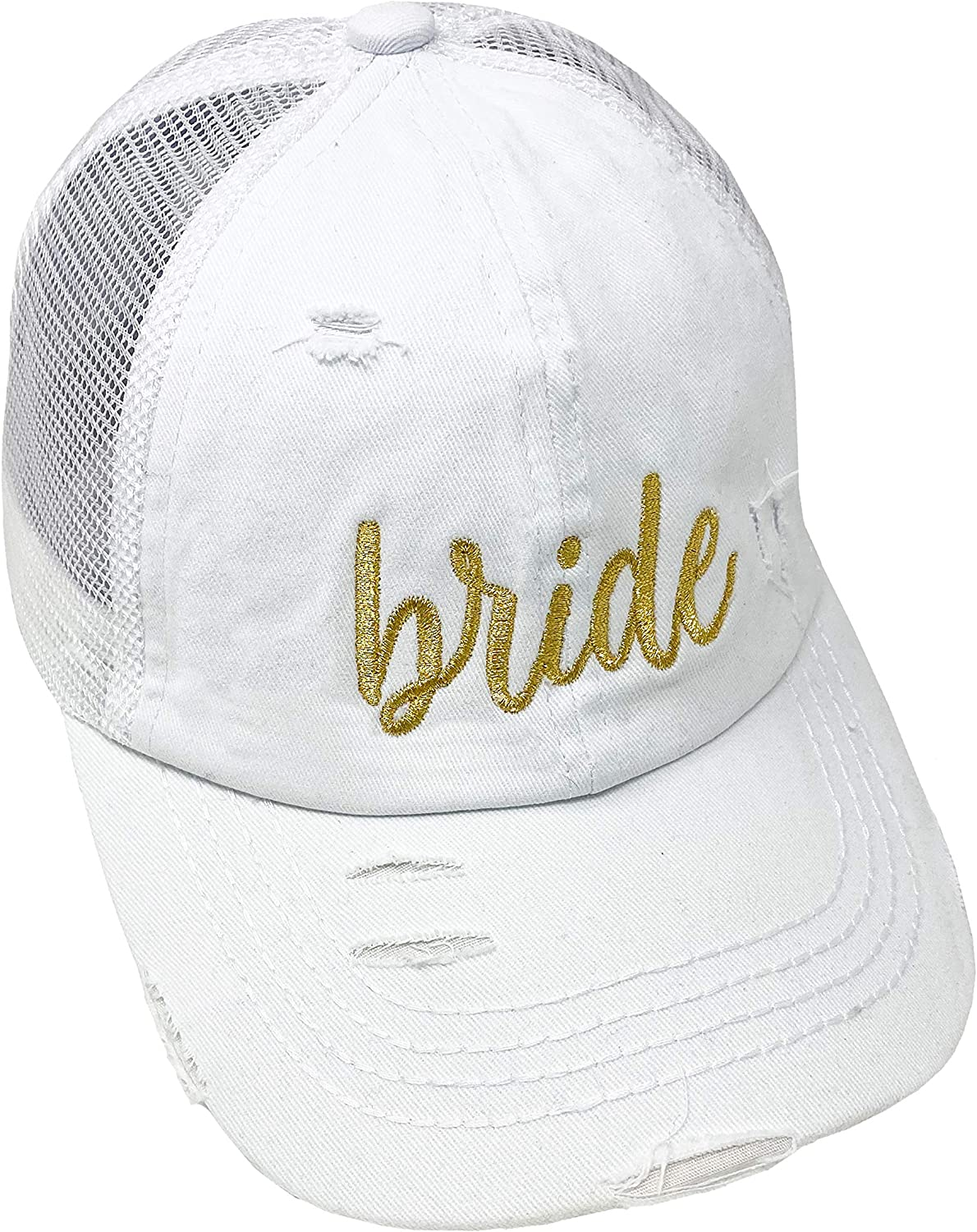Max 75% OFF High El Paso Mall Ponytail Criss Cross White Hat - Bride