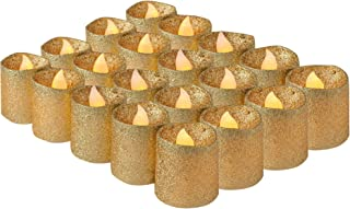 Gold Glitter Flameless Candles by Brightpik - Votive Led Tea Lights and Wedding Candle - Battery Operated Table Decor for Halloween Party Weddings - Set of 20 Lights & Safety Pack of 30 Batteries