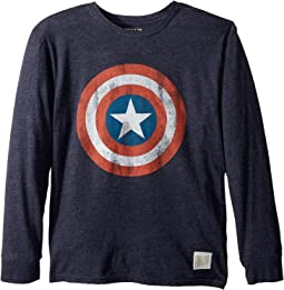 Captain America Long Sleeve Tri-Blend Tee (Big Kids)