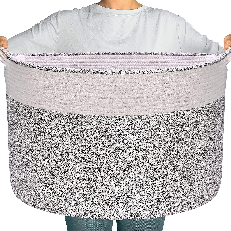 Large Cotton Rope Basket - Throw Blanket Storage Basket 22