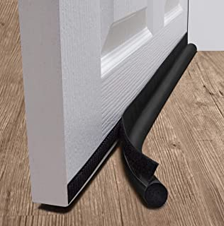 """deeToolMan Door Draft Stopper 36"""" : One Sided Door Insulator with Hook and Loop Self Adhesive Tape Seal Fits to Bottom of Door/Door Weather Stripping (Black)"""