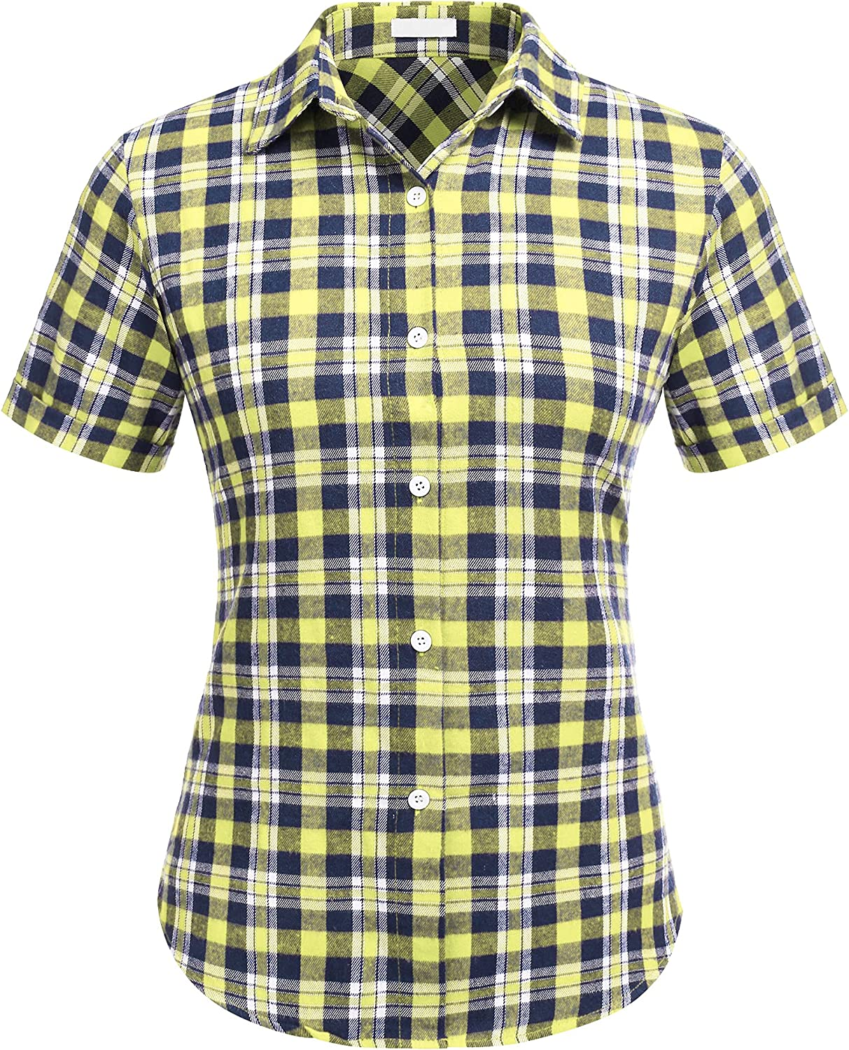 SUNAELIA Womens Flannels Plaid Shirt Long/Roll Up Sleeve Classic Button Down Tops with Pockets S-XXL
