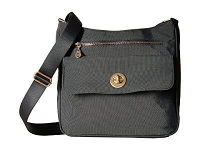 Baggallini International Antalya Top Zip Flap Crossbody (Charcoal) Cross Body Handbags