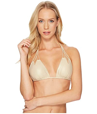 Luli Fama Cosita Buena Zigzag Knotted Cut Out Triangle Bikini Top (Gold Rush) Women