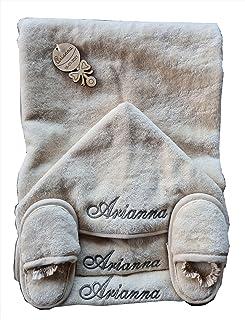 Accappatoio Triangolo neonato con ricamo personalizzato Asciugamano bambino cotone con cappuccio ciabattine e 2 bavaglie p...