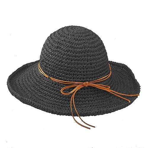 Urban CoCo Women s Wide Brim Caps Foldable Summer Beach Sun Straw Hats 29985940091e