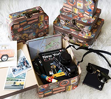 Soul & Lane Decorative Cardboard Suitcase Boxes (Set of 5)   Going Places Theme with Handles   Paperboard Boxes with Lids