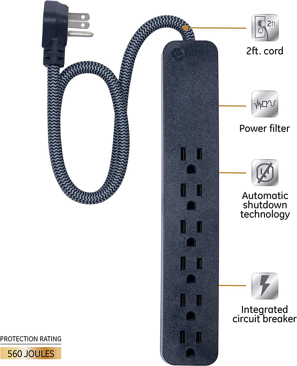 GE Pro 6 Outlet Surge Protector, 2 ft Extension Cord, Power Strip, Flat Plug, Wall Mount, Black, 45170: Electronics