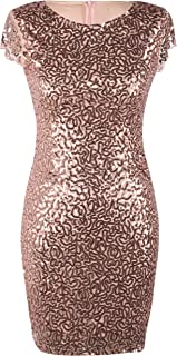 Women's Sequin Cocktail Dress Short Sleeve Sparkly Pencil Wedding Party Dress