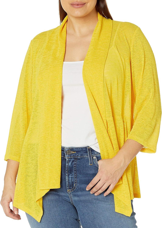 Kasper Women's Plus Size Sheer Textured Draped Knit Cardigan