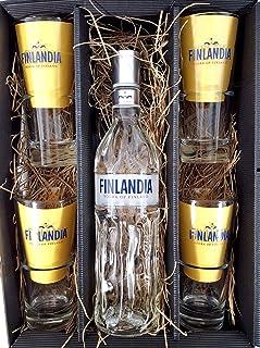 Finlandia Set/Geschenkset  Finlandia Vodka of Finland 1L 40% Vol  4x Gläser 2/4cl geeicht
