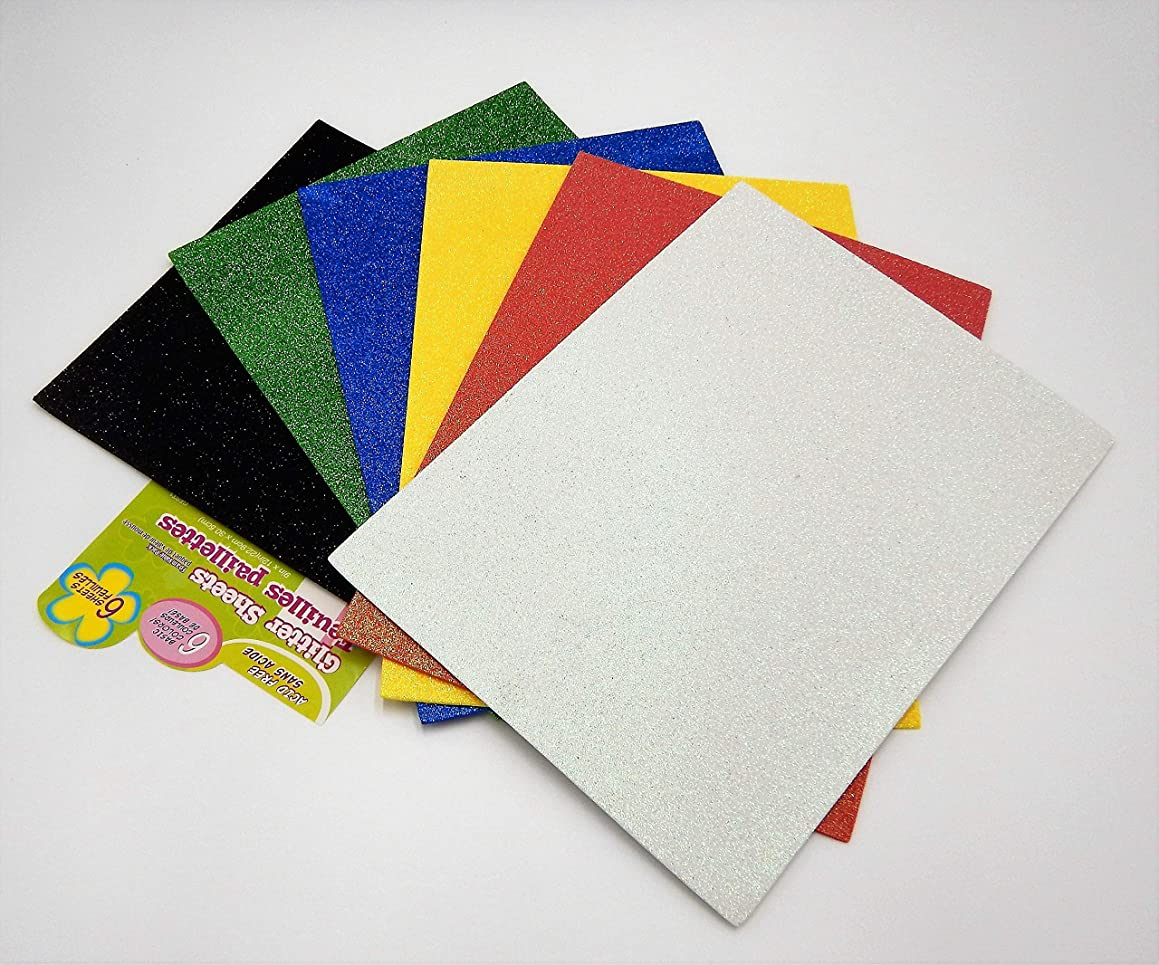 Eva 18 Glitter Foam Sheets - 3 Sheets Each 6 Colours - 9