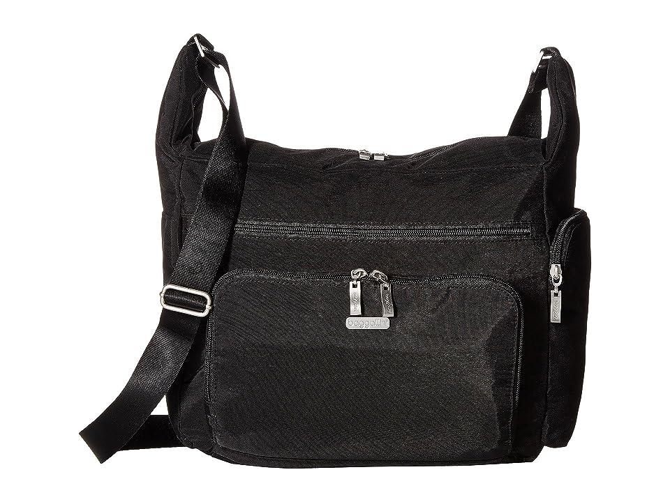 Baggallini Legacy Travel Hobo with RFID Wristlet (Black/Sand) Hobo Handbags