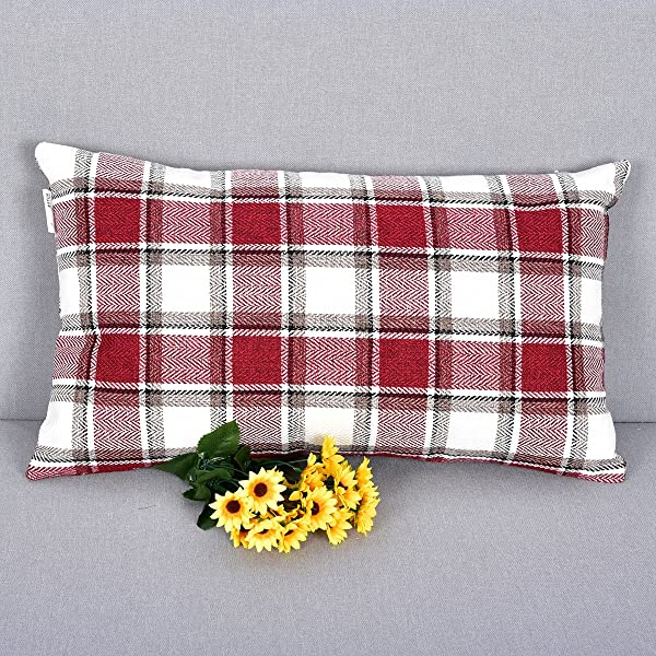 NATUS WEAVER Christmas Checker Breathable Striped Linen Cushion Cover Oblong Throw Pillow Case For Sofa Bench Couch Burgundy 12 X 20