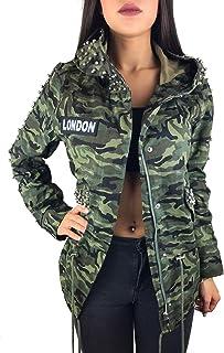163d1edf Worldclassca Damen Camouflage Parka Jacke MILITÄR GRÜN ÜBERGANGSJACKE  Mantel Nieten Retro Blouson Army Parka LANG MIT