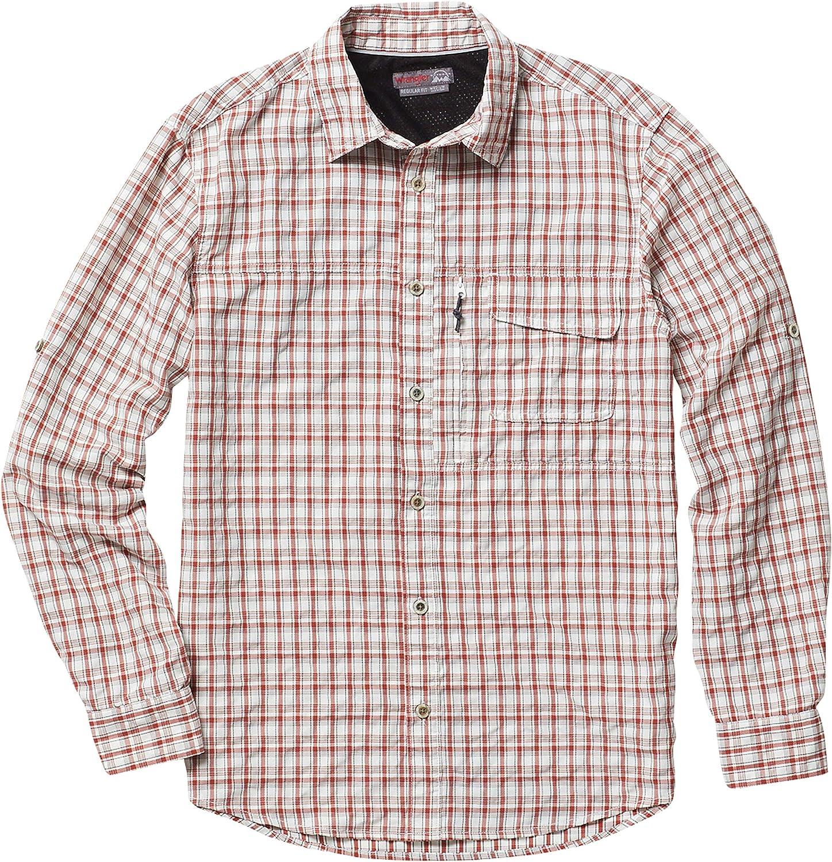 Wrangler Outdoor Men's Big and Tall Long Sleeve Utility Shirt, NSP93OS, Brick/Granite/Ivory Plaid