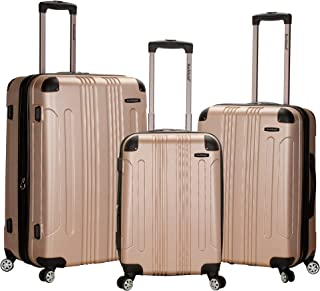 Luggage 3 Piece Abs Upright Luggage Set, Champagne, Medium