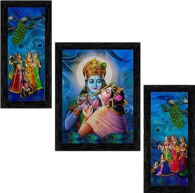 Indianara Set of 3 Radha Krishna Framed Painting (3522BK) without glass 6 X 13, 10.2 X 13, 6 X 13 INCH
