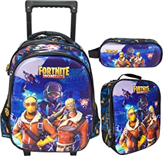 3D FORTNITE SCHOOL TROLLEY BAG WITH BACKPACK FOR KIDS BOY INCLUDE LUNCH BAG AND PENCIL CASE/POUCH (15 INCH)