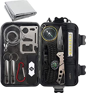Emergency Survival Kit,Survival multi-tool 11 sets,Compass, Multi-function Knife, Flashlight, Emergency Mylar, SOS flute,etc.Suit for Hurricane Disasters, Floods, Typhoon Emergency Situations