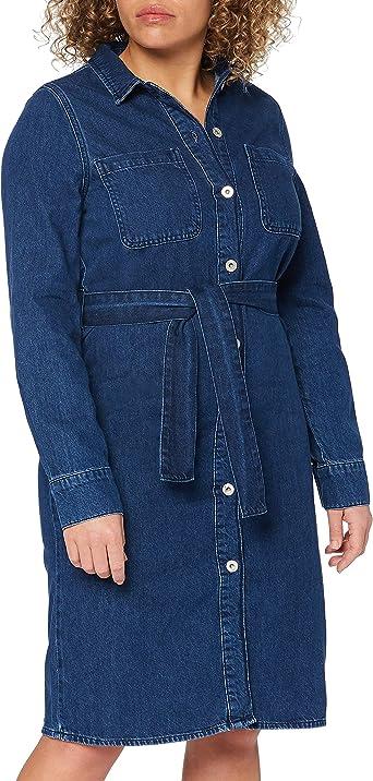 Marca Amazon - find. Vestido Vaquero Midi Camisero Mujer