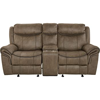 Standard Living Knoxville Glider Recliner Loveseat, Brown