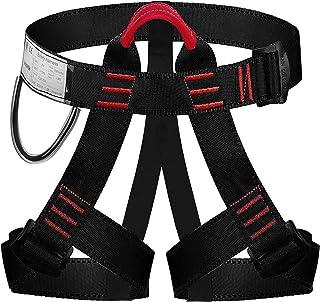 ENJOHOS Arnés de escalada Cintura Protección de la cadera Cinturón de seguridad Medio cuerpo Cinturón de seguridad para escalada en árboles, montañismo, rescate de incendios, espeleología de nivel superior, rapel, escalada deportiva