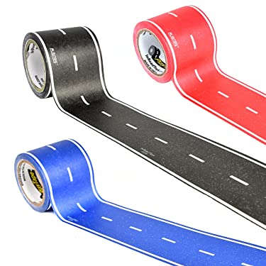 PlayTape in Red, Blue & Black Road 30 Feet by 2 Inches 3 Pack - Road Car Tape Great for Kids, Sticker Roll for Cars and Train Sets, Stick to Floors and Walls, Quick Cleanup, Children Toys Birthday