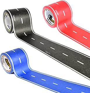 PlayTape in Red, Blue & Black Road 30 Feet by 2 Inches 3 Pack - Road Car Tape Great for Kids, Sticker Roll for Cars and Train Sets, Stick to Floors and Walls, Quick Cleanup, Children Toys Birthday Gif