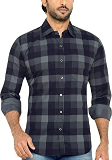 GLOBALRANG Men's Checkered Gray Casual Shirt