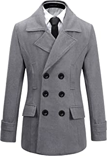Benibos Mens Wool Slim Fit Double Breasted Half Trench Coat