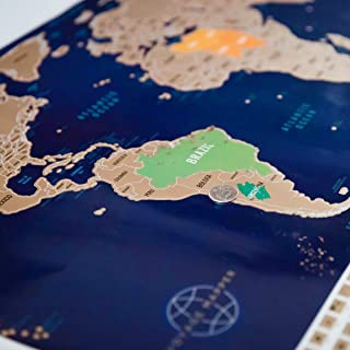 Large Scratch Off World Map Poster with US States & 208 Flags - (34.5