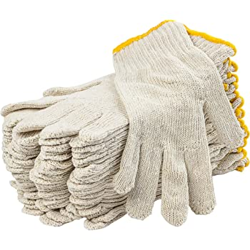 """12 Pack Beige String Knit Gloves 10"""" Large Size. Washable Glove with Elastic Knit Wrist. Cotton Polyester Gloves. Plain Seamless Workwear Gloves. Protective Industrial Work Gloves for Men. Wholesale price."""