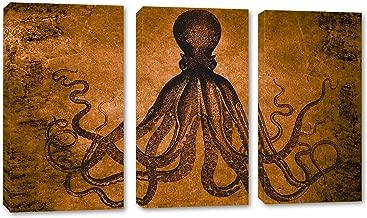 48 x 32 Total - Lord Bodner Octopus Triptych Canvas Print Wall Art 3 Panel Split Copper-Brown Kraken Room Wall Decor