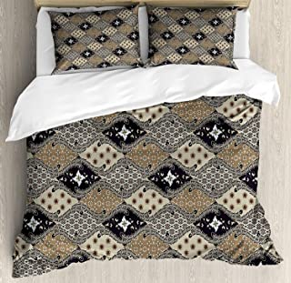 Asian Duvet Cover Set, Indonesian Javanese Style Batik Pattern Wavy and Floral Design Old Fashioned Tile Microfiber Bedding Sets with Zipper and Corner Ties Tan Black (4 Pcs, Queen)