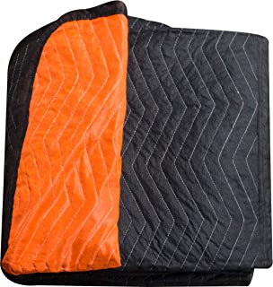 """Forearm Forklift FFBMB Full Size Heavy Weight Quilted Moving Blanket (84 lb/dz), 72"""" x 80"""", Blaze Orange/Black"""