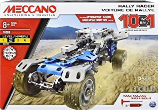 MECCANO by Erector, 10 in 1 Rally Racer Model Vehicle Building Kit, STEM Engineering Education Toy for Ages 8 and up, Stee...