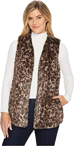 Dylan by True Grit - Wild Side Vintage Leopard Faux-Fur Vest with Heather Knit Lining and Pockets