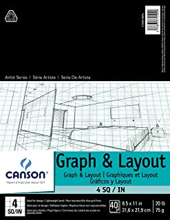 Canson Foundation Series Graph and Layout Paper Pad with Non Reproducible Blue Grid, Fold Over, 20 Pound, 4 by 4 Grid on 8...