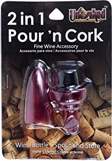 Jacent Uncorked 2 in 1 Pour and Cork Wine Stopper and Spout, Colors Vary, 1-Pack