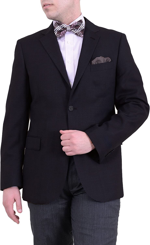 Zanetti Regular Fit Black Textured Two Button Wool Blazer Sportcoat