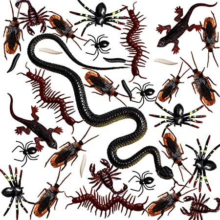 Whaline 148 Pieces Plastic Bugs Trick Joke Decoration Scary Insects Fake Snake Cockroaches Spiders Worms Scorpions and Gecko for April Fools Day Decoration, Halloween Party Favors (9 Types)